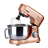 Inalsa Stand Mixer Kratos-1000W | 100% Pure Copper Motor| 5L SS Bowl| 8 Speed Control| Tilt Head| Includes Whisking Cone, Mixing Beater & Dough Hook| 2 Years Warranty, (Champagne)