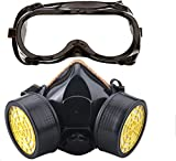 SYGA Pesticide Formaldehyde Paint Spray Protection Double Tank Resuable Respirator Half Mask Activated Carbon Silicone antivirus Black with Inbuilt Filter, Pack of 1 for Unisex