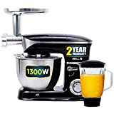 iBELL 6650S 1300Watts Multi-Function Electric Food Stand Mixer/Juicer/Meat Grinder Tilt Head 6.5 Litres SS Bowl with Whipping|Kneading/Blending|Mincing|Egg Beating|Juice Making,6 Speed Control,Black