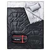 Ohuhu Waterproof Lightweight Polyester 2 Person Double Sleeping Bag with 2 Pillows for Camping, Backpacking, Hiking, with Carrying Bag (Black)