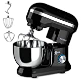AGARO Royal Stand 1000W Mixer with 5L SS Bowl and 8 Speed Setting, Includes Whisking Cone, Mixing Beater & Dough Hook, and Splash Guard, 2 Years Warranty, (Black), Medium (33554)