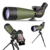 Gosky 20-60x80 Spotting Scope with Tripod, Carrying Bag and Smartphone Adapter - BAK4 Angled Telescope - 2019 Updated Newest Waterproof Scope for Target Shooting Hunting Bird Watching Wildlife Scenery