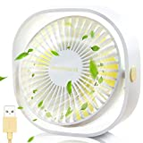 SmartDevil Small Personal USB Desk Fan,3 Speeds Portable Desktop Table Cooling Fan Powered by USB,Strong Wind,Quiet Operation,for Home Office Car Outdoor Travel (Natural White)