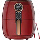 VARADA Pro Air fryer 4.5 liter large capacity with 3D rapid hot air circulation technology with beautiful touch panel display 1500 watt power Large size Tong absolutely free (RED)