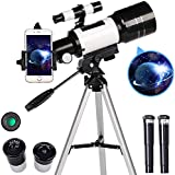 AZOD Telescope for Kids& Beginners, 70mm Aperture 300mm Astronomical Refractor Telescope, Tripod& Finder Scope- Portable Travel Telescope with Smartphone Adapter