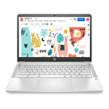 HP Chromebook 14-inch (35.56 cms) Thin & Light Touchscreen Laptop (Celeron N4020/4GB/64GB eMMC + 256GB Expandable Storage/Chrome OS/1.46 kgs Light/ Mineral Silver), 14a-na0003TU