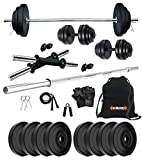Kore PVC 16 Kg Home Gym Set With One 4 Ft Plain And One Pair Dumbbell Rods With Gym Accessories, Black