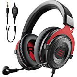 EKSA E900 Wired Stereo Gaming Headset-Over Ear Headphones with Noise Canceling Mic, Detachable Headset Compatible with PS4, PS5, Xbox One, PC, Mac, Laptop(Red)