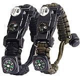 Paracord Survival Bracelet Kit Adjustable with Flint fire Starter + Compass + Thermometer + Whistle + Umbrella Rope + LED Light + Multi-Tool + Card Reader (Black + ArmyGreen)