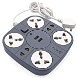 Axmon 2 USB Charging Ports and 6 Socket, Heavy Duty Multiplug Extension Board for Multiple Devices Smartphone Tablet Laptop Computer (Grey, 10AMP - 5V)