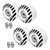 jaspo Sprint PU Skateboard & Roller Skates Wheels with Bearing 53 mm and Spacers (Multicolour) - Pack of 4