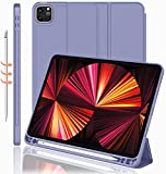 Oaky Pencil Holder Case for Apple iPad Pro 11 inch 2021 M1 3rd Gen. Folio Back Cover Trifold Stand Auto Wake/Sleep Cover Support 2nd Gen Pencil Charging - Lavender