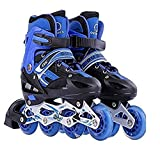 Toy Arena Adjustable Size Inline Skates with LED Flash Light On Wheels for Kids (Age 10 to16 Years) (Color May Vary)