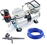 Elephant Double Piston Mini 35 Liter 1/3 HP Corded Electric Air Compressor and Painter Air Brush with 3 m PU Pipe and 2 Way Connector (Multicolour)