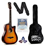 Intern INT-38C Acoustic Guitar Kit (Sunburst) with Carry bag, Picks, Strings set and Guitar Strap, Small