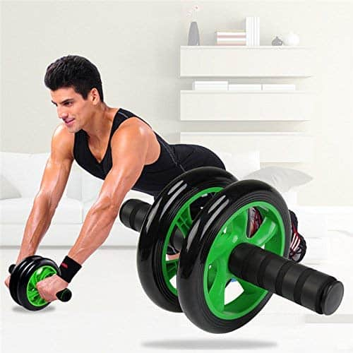 Simxen Anti Skid Double Wheel Total Body AB Roller Exerciser for Abdominal Stomach Exercise Training with Knee Mat Steel Handle for Unisex