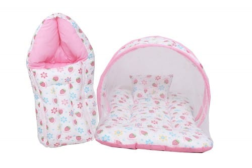 Toddylon Baby Mattress with Mosquito Net and Sleeping Bag Combo